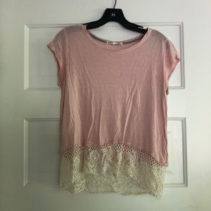 Light pink shirt with lace on bottom